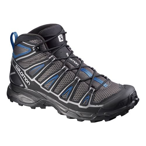 Mens Salomon X-Ultra Mid Aero Hiking Shoe - Black/Blue 10.5
