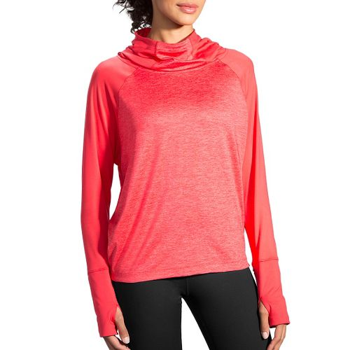 Womens Brooks Dash Hoodie & Sweatshirts Technical Tops - Poppy/Heather L