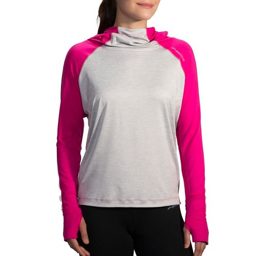 Womens Brooks Dash Half-Zips & Hoodies Technical Tops - Petal/Sterling L