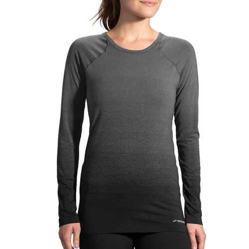 Womens Brooks Streaker Long Sleeve Technical Tops - Black/Oxford M