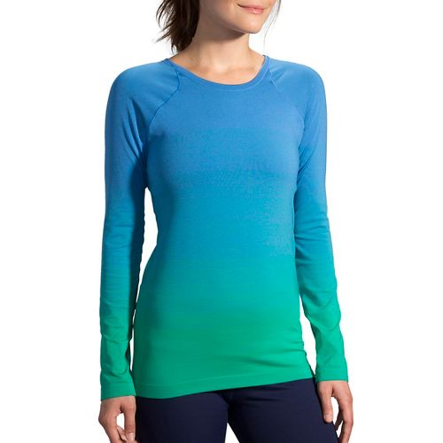 Womens Brooks Streaker Long Sleeve Technical Tops - Parque/Wave L