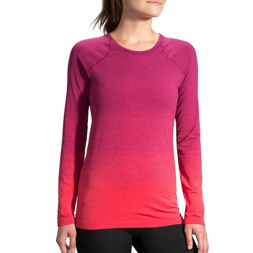 Womens Brooks Streaker Long Sleeve Technical Tops - Poppy/Sangria L