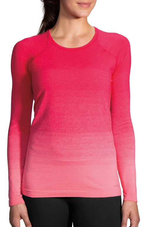 Womens Brooks Streaker Long Sleeve Technical Tops - Dahlia/Salmon M