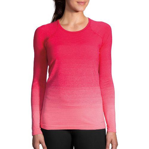 Womens Brooks Streaker Long Sleeve Technical Tops - Dahlia/Salmon M