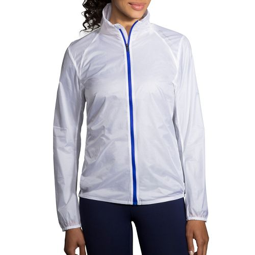 Womens Brooks LSD Jacket Running Jackets - White/Cobalt M