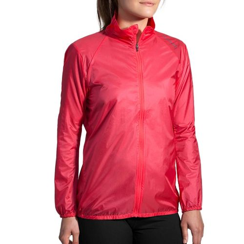 Womens Brooks LSD Jacket Running Jackets - Poppy/Asphalt S