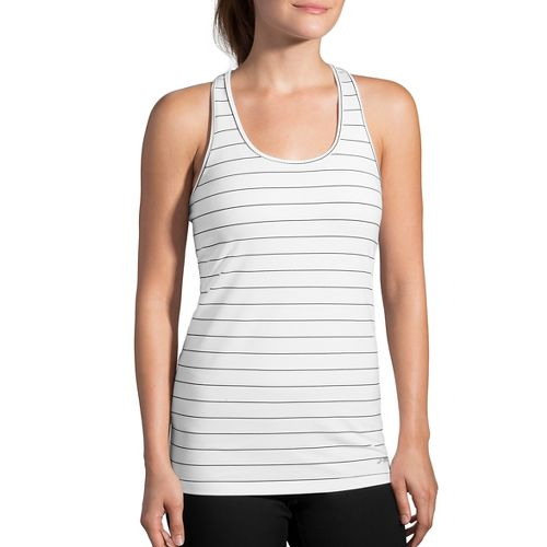 Womens Brooks Pick Up Sleeveless & Tank Technical Tops - White/Black XXL