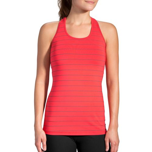 Womens Brooks Pick Up Sleeveless & Tank Technical Tops - Poppy/Asphalt M
