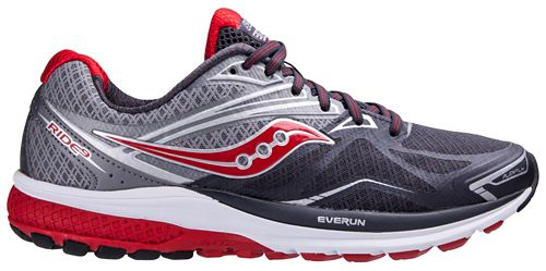 Mens Saucony Ride 9 Running Shoe - Grey/Red 8.5