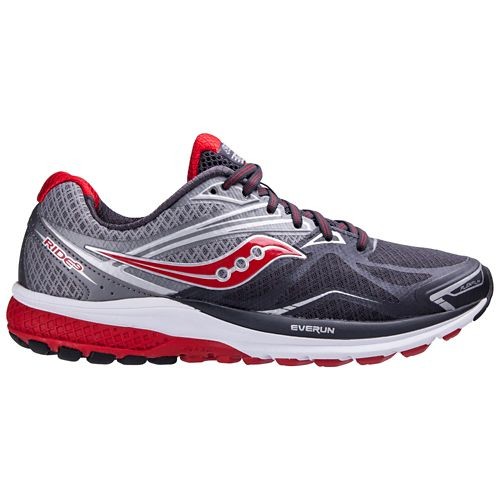 Mens Saucony Ride 9 Running Shoe - Grey/Red 12.5
