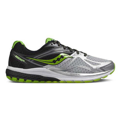 Mens Saucony Ride 9 Running Shoe - Silver/Black/Lime 9