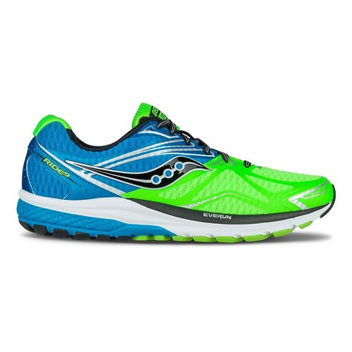 Mens Saucony Ride 9 Running Shoe - Slime/Blue 12.5