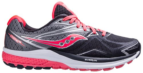 Womens Saucony Ride 9 Running Shoe - Grey/Coral 6