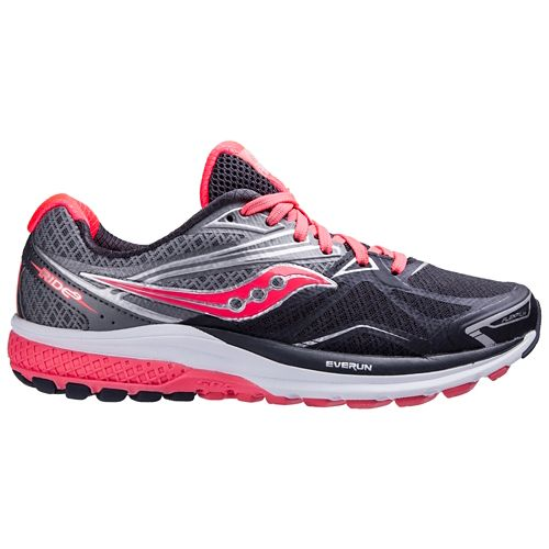 Womens Saucony Ride 9 Running Shoe - Grey/Coral 10.5