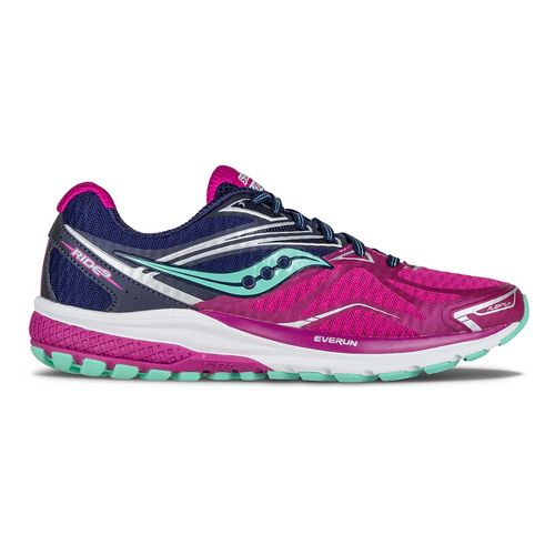 Womens Saucony Ride 9 Running Shoe - Purple/Blue/Mint 10