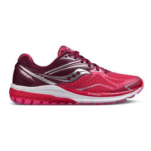 Womens Saucony Ride 9 Running Shoe - Pink/Berry 5.5