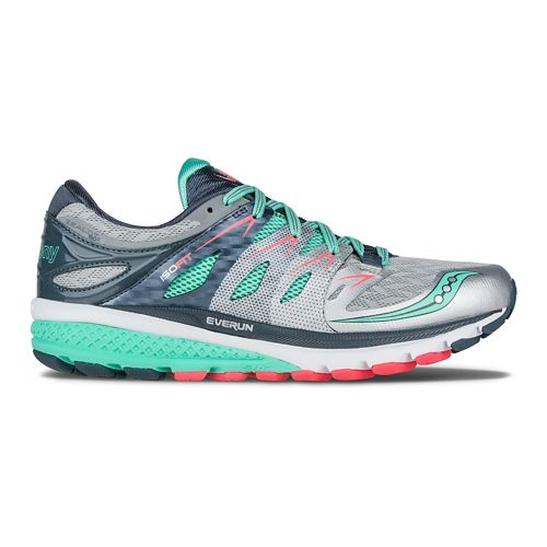 Womens Saucony Zealot ISO 2 Running Shoe - Silver/Mint 7.5