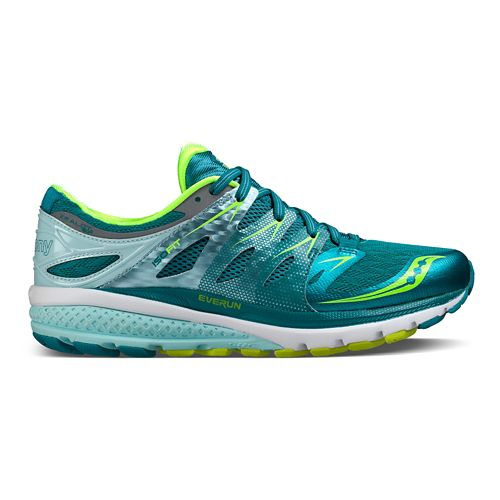 Womens Saucony Zealot ISO 2 Running Shoe - Teal/Citron 11.5