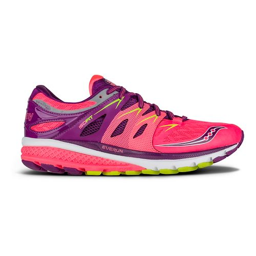 Womens Saucony Zealot ISO 2 Running Shoe - Coral/Purple/Citron 9.5