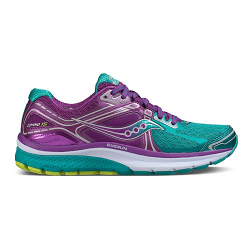 Womens Saucony Omni 15 Running Shoe - Teal/Purple 8.5