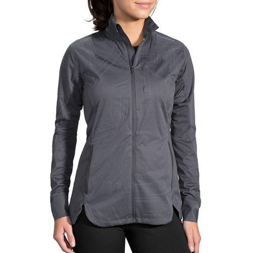 Womens Brooks Drift Shell Rain Jackets - Asphalt Reflective XL