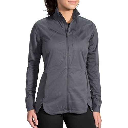 Womens Brooks Drift Shell Rain Jackets - Asphalt Reflective M