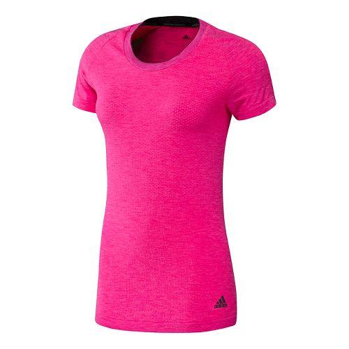 Womens adidas Adistar Wool Primeknit Tee Short Sleeve Technical Tops - Shock Pink S