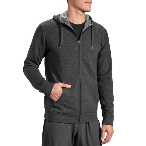 Mens Brooks Distance Hoodie & Sweatshirts Technical Tops - Heather Black L