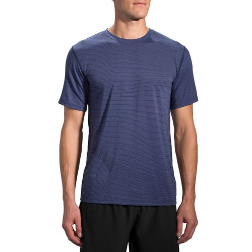 Mens Brooks Distance Short Sleeve Technical Tops - Heather Coast L
