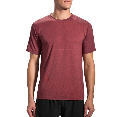 Mens Brooks Distance Short Sleeve Technical Tops - Heather Root S