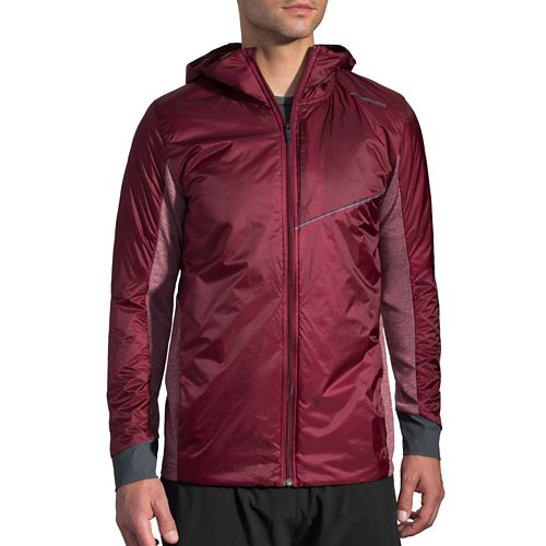Mens Brooks LSD Thermal Running Jackets - Root/Heather Root L