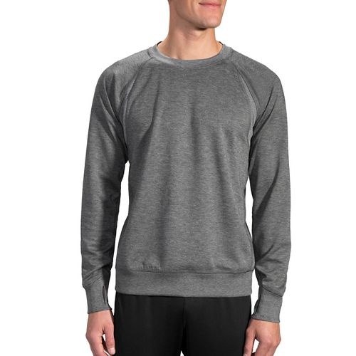 Mens Brooks Joyride Sweatshirt Half-Zips & Hoodies Technical Tops - Heather Black L