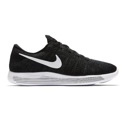 Mens Nike LunarEpic Low Flyknit Running Shoe - Black/White 10