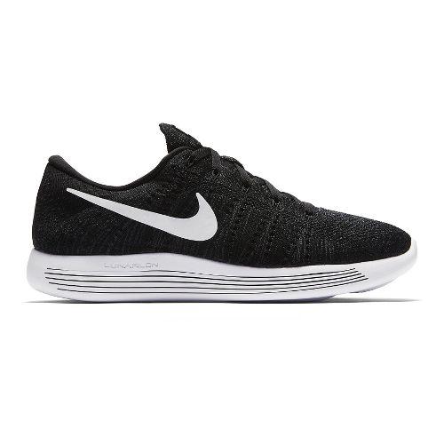 Mens Nike LunarEpic Low Flyknit Running Shoe - Black/White 12