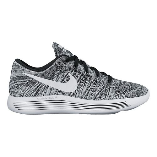 Womens Nike LunarEpic Low Flyknit Running Shoe - Black/White 11