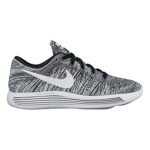 Womens Nike LunarEpic Low Flyknit Running Shoe - Black/White 8