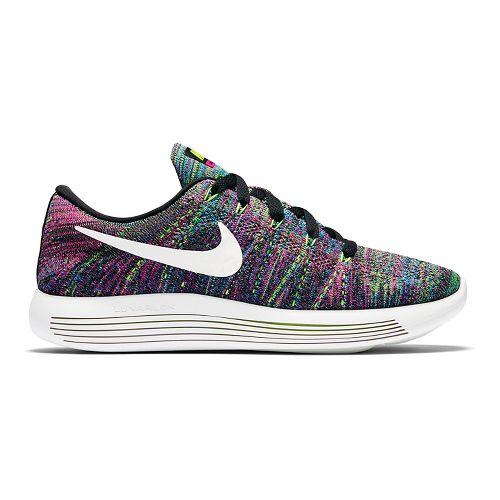 Womens Nike LunarEpic Low Flyknit Running Shoe - Black/Pink 9