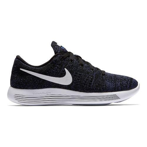 Womens Nike LunarEpic Low Flyknit Running Shoe - Black/Purple 6.5
