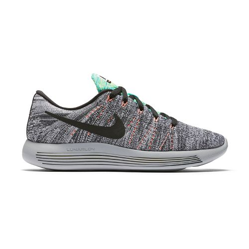 Womens Nike LunarEpic Low Flyknit Running Shoe - White/Mango 11