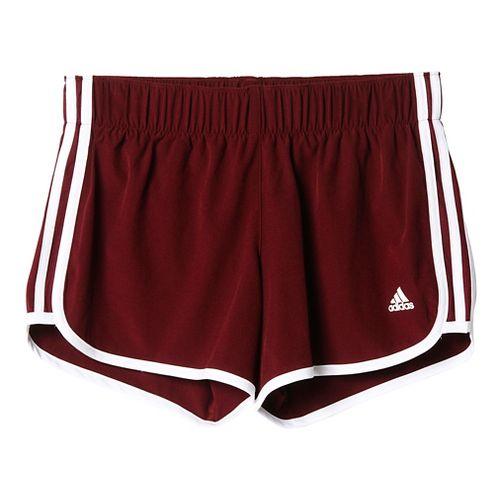 Womens Adidas M10 3-Stripes Unlined Shorts - Maroon/White L