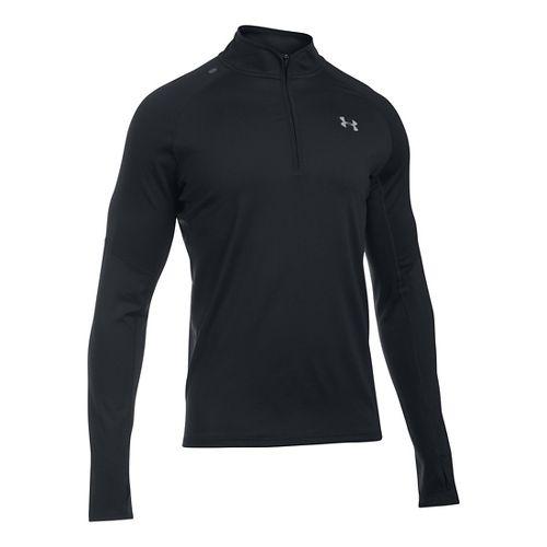 Mens Under Armour No Breaks 1/4 Zip Long Sleeve Technical Tops - Black L