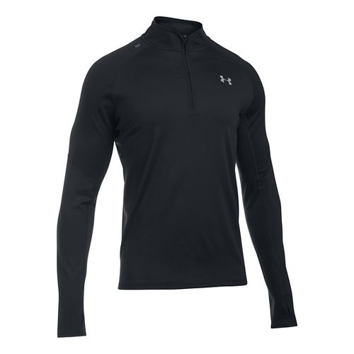 Mens Under Armour No Breaks 1/4 Zip Long Sleeve Technical Tops - Black S