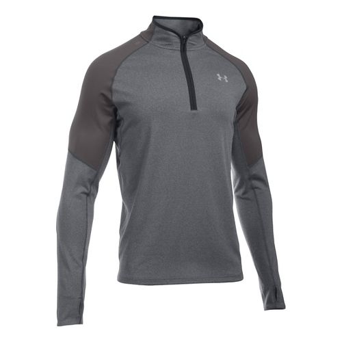 Mens Under Armour No Breaks 1/4 Zip Long Sleeve Technical Tops - Carbon Heather L ...