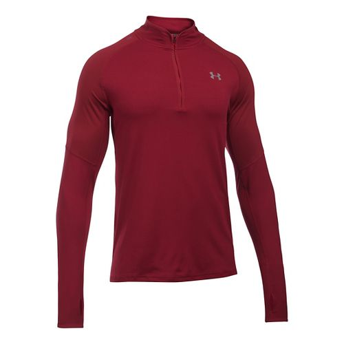 Mens Under Armour No Breaks 1/4 Zip Long Sleeve Technical Tops - Cardinal S