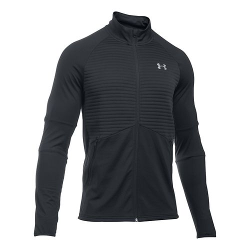 Mens Under Armour No Breaks CGI Running Jackets - Carbon Heather/Black S