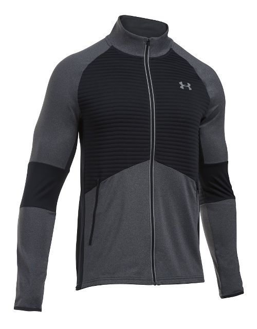 Mens Under Armour No Breaks CGI Running Jackets - Carbon Heather/Black L