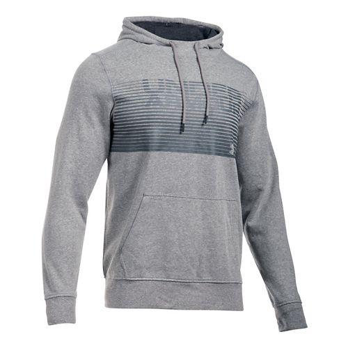 Mens Under Armour Triblend Striped Hoodie & Sweatshirts Technical Tops - Greyhound Heather L