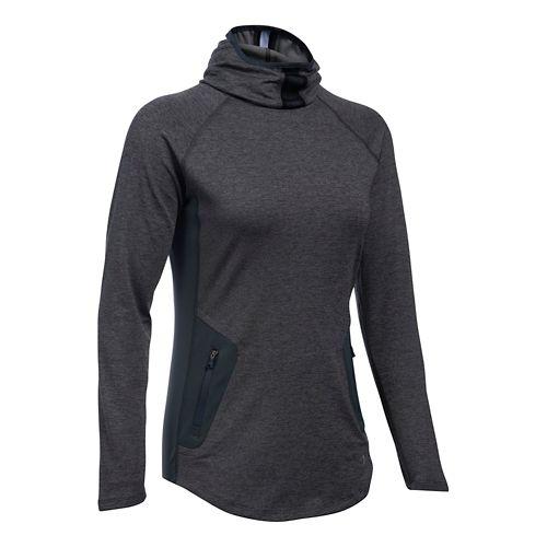 Womens Under Armour No Breaks Balaclava Half-Zips & Hoodies Technical Tops - Carbon Heather XL