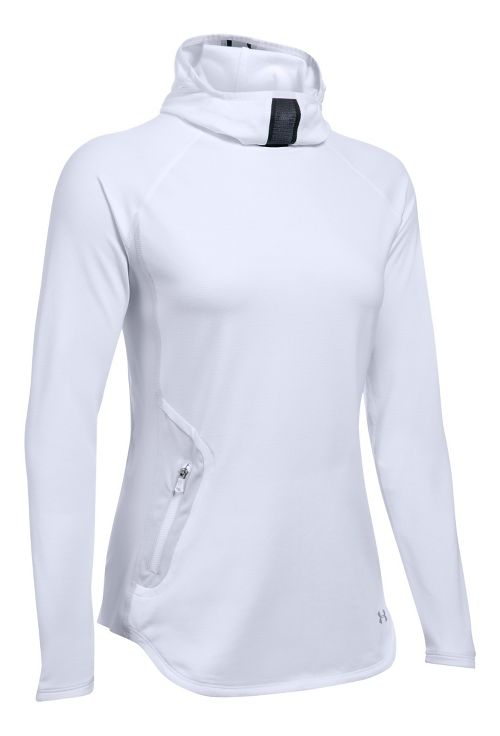 Womens Under Armour No Breaks Balaclava Half-Zips & Hoodies Technical Tops - White M