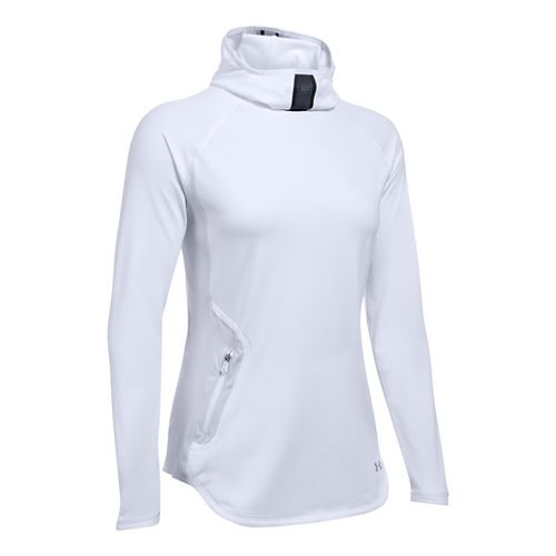 Womens Under Armour No Breaks Balaclava Hoodie & Sweatshirts Technical Tops - White L